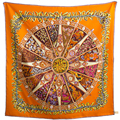"Woman's Silk Scarf 35"" 90cm Kerchief Kingdom of Spices Pattern Made Dish Occident Style Silk Twill Shawl High Quality SP168296"