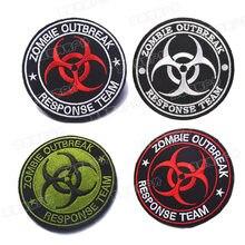 Zombie surto resposta equipe remendo bordado remendos emblema acessório diy 8cm gancho e laço tático