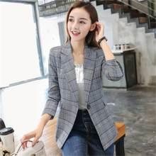 b18a7a7cc6 2018 senhoras primavera e no outono novo tamanho fino temperamento terno  casual xadrez tendência das mulheres OL pequeno paletó .