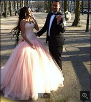 Pink 2016 ball gown Prom Dresses Sweetheart Floor Length Beaded Tulle Prom Gowns Back Bow Formal prom dress free shipping