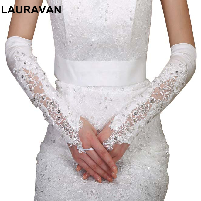Woman Wedding Gloves Fingerless For Bride Elbow Length Long Black White/Ivory Lace Appliqued Beaded Bridal Party Accessories