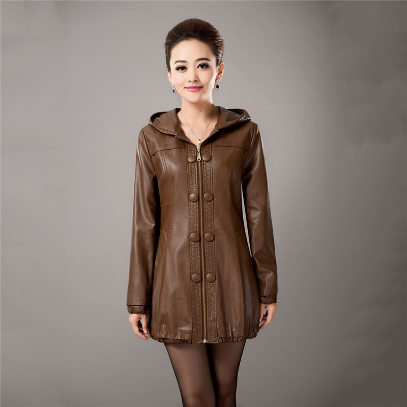 Plus Size 5XL Coat Women 2018 New Autumn And Winter Faux   Leather   Clothing Female Hodded Outwear Long Slim Motorcycle Jacket O686