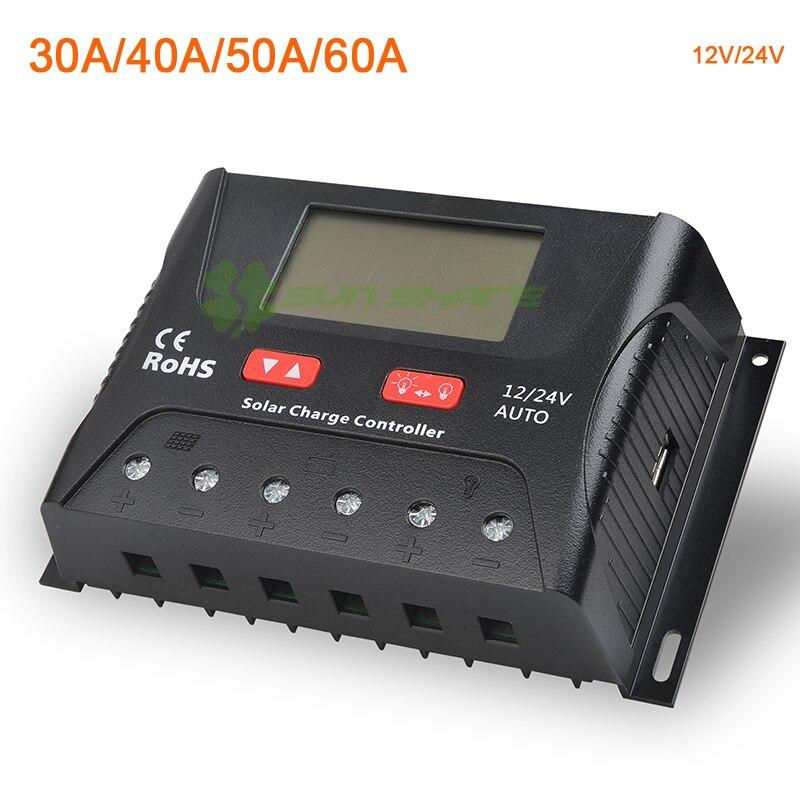 ШИМ Контроллер заряда/регулятор 30A/40A/50/60A 12 В/24 В Авто Батарея выравнивания зарядки приложение мониторинга уличном фонарном