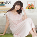 New Summer Girls Thin Cotton Nightdress Cozy Summer Fashion Leisure Solid Color Sleeping Clothes