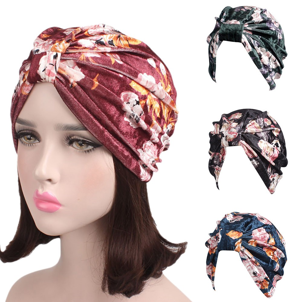 42e53753631b9 Women caps fashion muslim ladies stretch velvet floral cancer chemo hat  comfortable beanie scarf turban head wrap cap