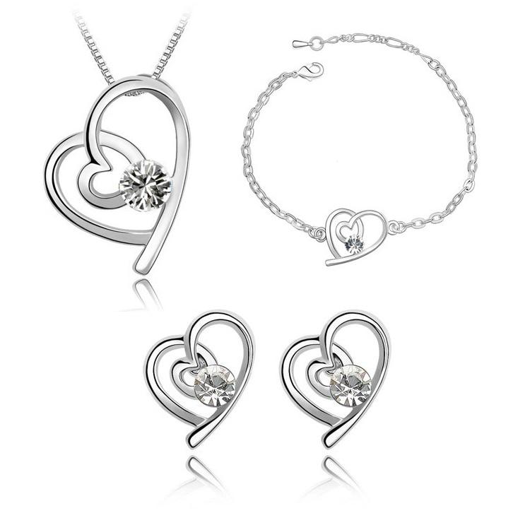 Fashion New Crystal Heart Women Earrings Necklaces Bracelets Jewelry Sets CS137B12 ABC