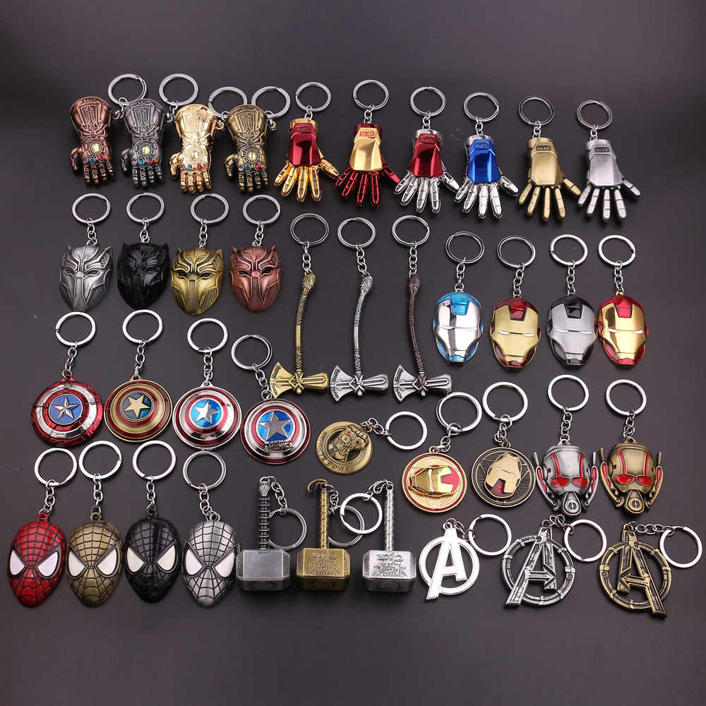 The Avengers Captain America Shield Spiderman Batman Gantungan Kunci Mainan Superhero Hulk Iron Man Marvel Perhiasan Logam Liontin Gantungan Kunci