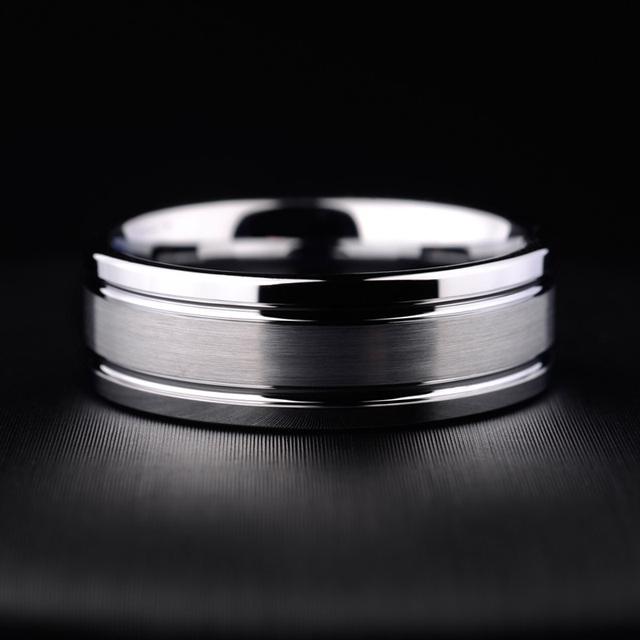 Alta Qualidade 5mm/7mm Anéis Clássicos para Homem Mulher Anéis De Aço De Tungstênio Escovado e Grooving Superfície Livre grátis
