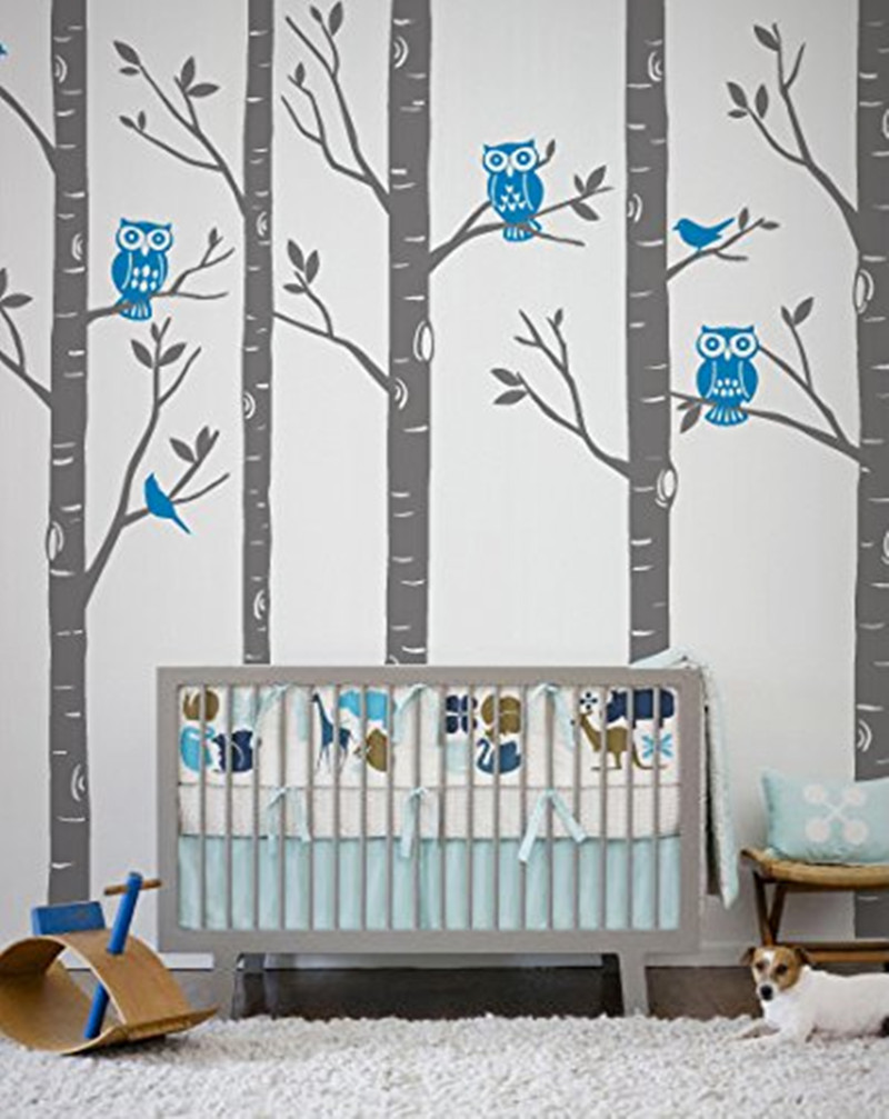 Wild birch forest with owls vinyl wall decal - Huge Size Tree Wall Stickers Playground Birch Forest With Owls And Birds Vinyl Wall Decal Baby
