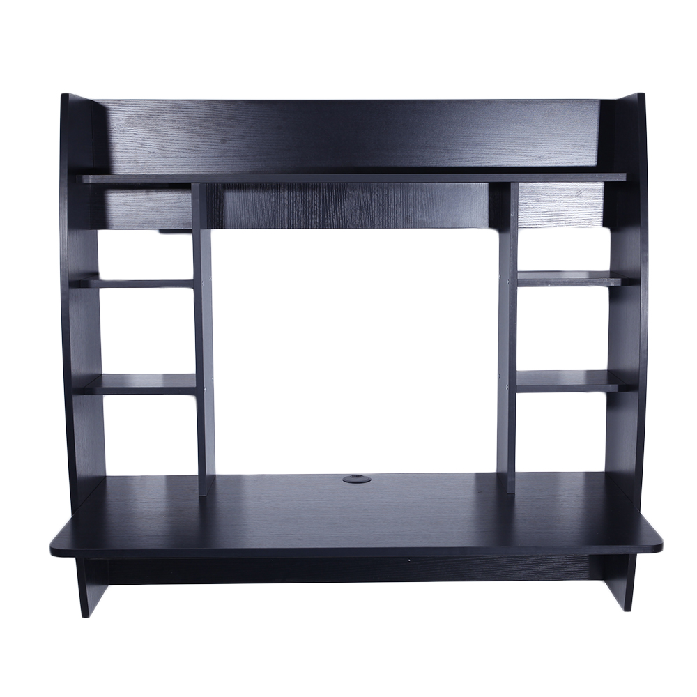 Exquisite Room-saving Wall Built-up Computer Desk Black