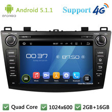 Quad Core 8″ 1024*600 2DIN Android 5.1.1 Car DVD Video Player Radio Stereo Screen DAB+ 3G/4G WIFI GPS Map For MAZDA 3 2009-2012