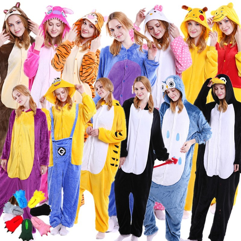 Adult/Kids Winter Woman Whole Pajamas Unicorn Stitch Costume Fancy Animal Anime Cosplay One Piece Jumpsuit   Halloween Onesie