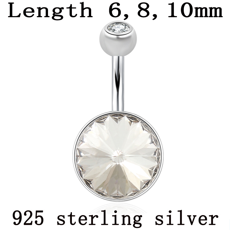 Jewelry Piercing 925-Sterling-Silver Crystal Women Round Belly-Button-Ring Navel-Bar