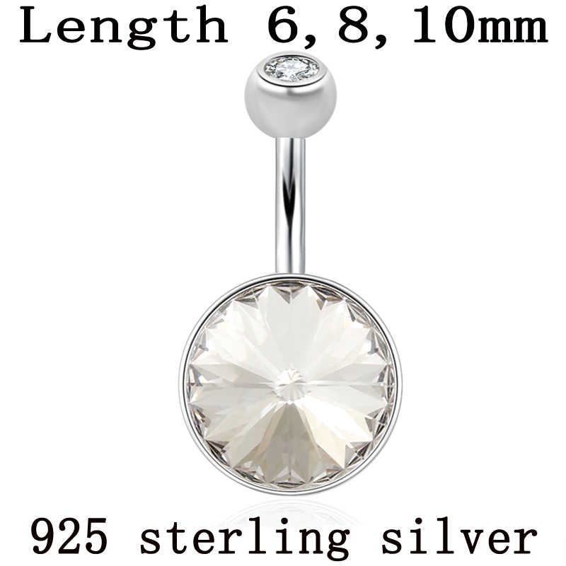 Real 925 Sterling Silver Belly Button Ring A Crystal Stone Round