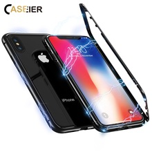CASEIER Magnetic Adsorption Phone Case For iPhone X XS MAX XR Back Glass Funda 8 7 6s 6 Plus Capinha Couque