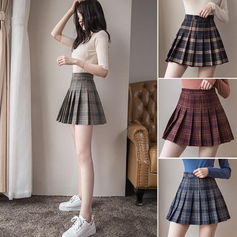 be60caa4e4 Women Mini Pleat Skirt Harajuku Preppy Style Plaid Skirts Cute Japanese  School Uniforms Ladies Jupe Kawaii