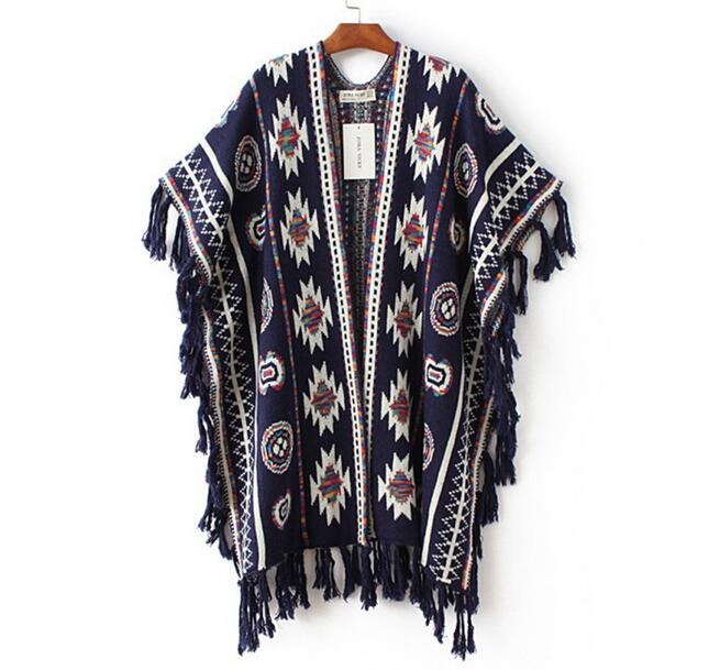 2017 women fashion winter printing knitted poncho imitaion cashmere tassel warm pashmina