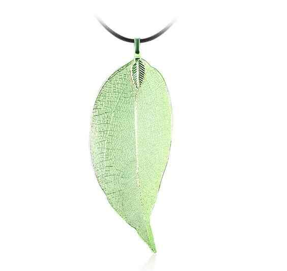 New Arrival True Tree LeafPendant Necklace for Women Green Blue Natural Leaf Leather Real Leaves Rope Chain Pendant Necklace