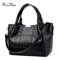 Winmax Women Bags Solid Leather Shoulder Bags Big Capcity Women Top Handle Handbags High Quality Casual