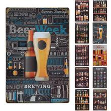 Retro Vintage Wine Beer Tin Signs Wall Art Painting Decorative Metal Poster