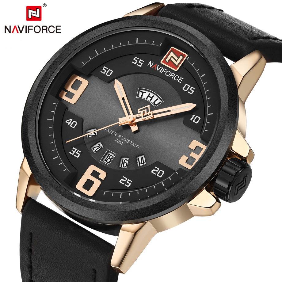 Prix pour NAVIFORCE Mode Hommes Sport Militaire Montres avec Calendrier de Fonction En Cuir Unique Grand Cadran D'affaires Montre-Bracelet Reloj Hombre
