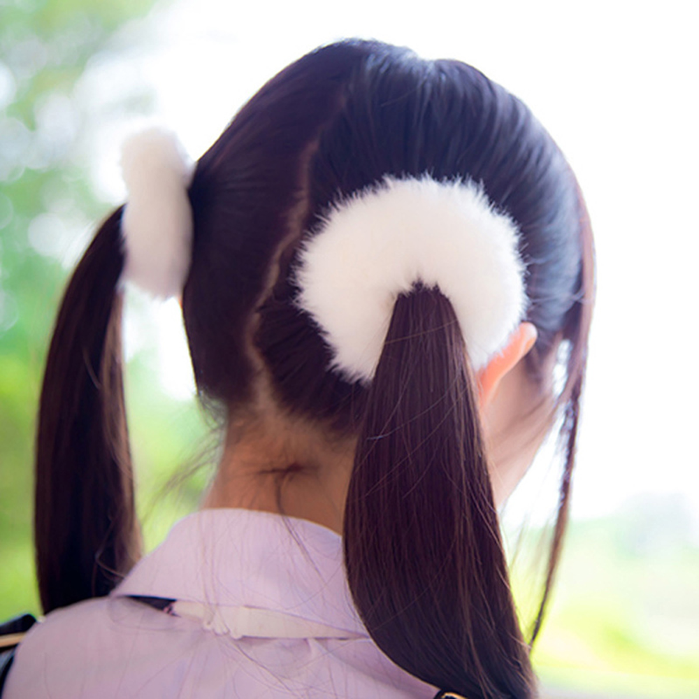 1pcs Fluffy Faux Fur Furry Scrunchies Soft Hand Made Fur Elastic Hair Bands for Ladies Hair Ties