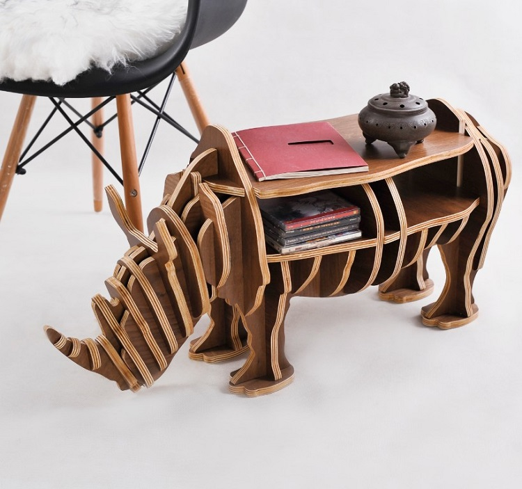 High-end S size Rhino table  Wood furniture! self-build puzzle furniture factory wholesale european style rhino wood coffee table desk craft gift desk self build puzzle furniture free shipping