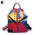 Tendência Unisex Mochilas de Couro Genuíno Mochila Feminina Sacos de Viagem mochilas Escolar Preppy Escola de Design Saco de Livro BP101