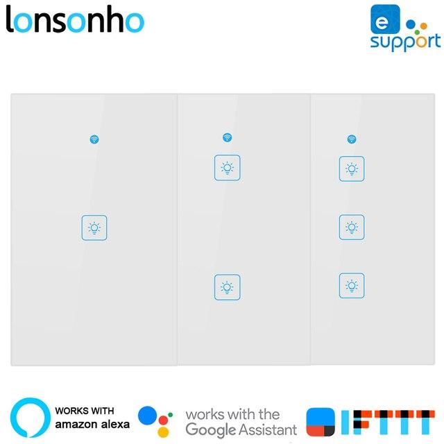 Lonsonho nas Wifi przełącznik inteligentny przełącznik pilot zdalnego sterowania bezprzewodowy dotykowy światła przełączniki ścienne eWeLink działa z Google domu Mini Alexa
