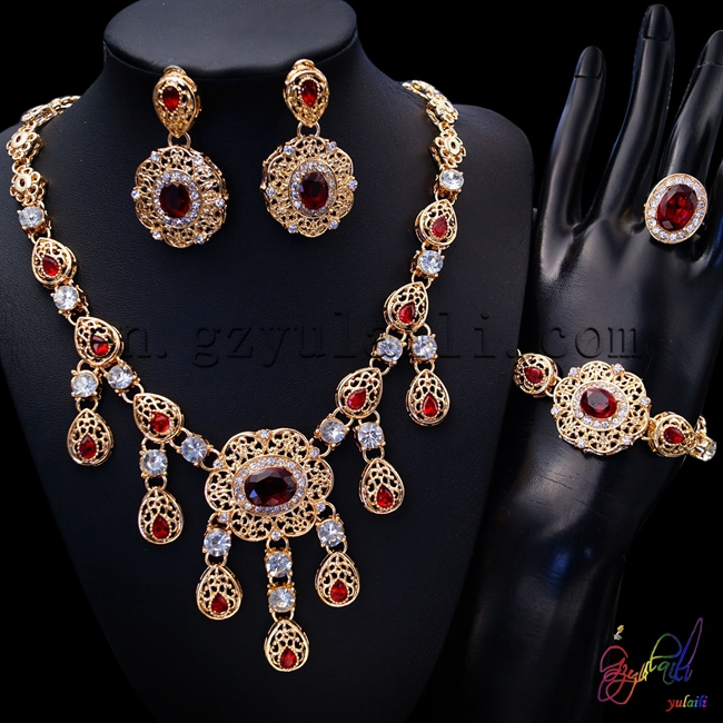 Free Shipping Hot Sell Popular Zinc Alloy Geometric Statement Ethnic Plate Gold Women Four Jewelry Set hot sell new free shipping handmade jadoku ethnic clothing chain yaolian multipurpose silver tube fluids necklace