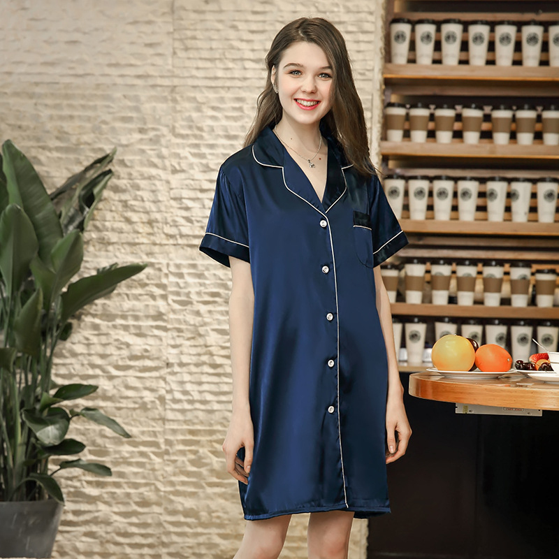 NG0226 Solid Night Gowns for Women Satin Silk Sexy Sleepwear Short Sleeve Summer Women Nightgowns Sleepshirts Female Nightdress