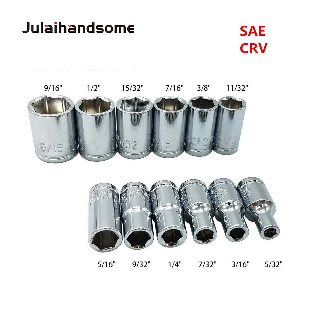 Julaihandsome 12PC 1/4 Inch SAE Sockets Set 5/32 3/16 7/32 1/4 9/32 5/16 11/32 3/8 7/16 15/32 1/2 9/16 CRV 25MM  Hand Tool Set