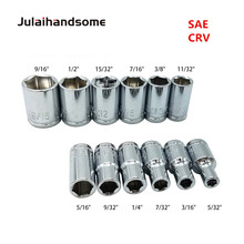 Julaihandsome 12PC 1/4 Inch SAE Sockets Set 5/32 3/16 7/32 9/32 5/16 11/32 3/8 7/16 15/32 1/2 9/16 CRV 25MM  Hand Tool