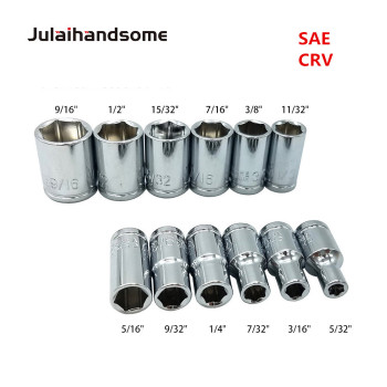 цена на Julaihandsome 12PC 1/4 Inch SAE Sockets Set 5/32 3/16 7/32 1/4 9/32 5/16 11/32 3/8 7/16 15/32 1/2 9/16 CRV 25MM  Hand Tool Set