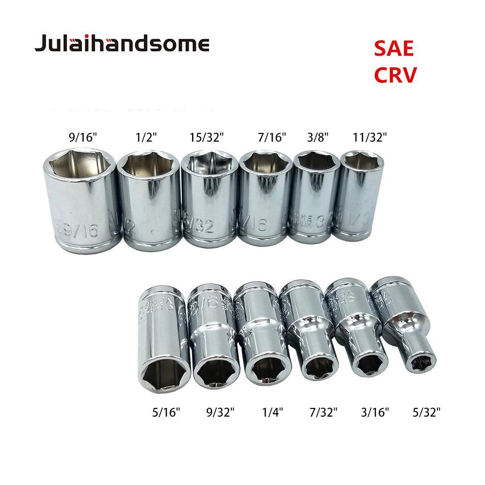Julaihandsome 12PC 1/4 Polegada SAE Sockets Set 5/32 3/16 7/32 1/4 9/32 5/16 11/32 3/8 7/16 15/32 1/2 9/16 CRV 25MM Conjunto de Ferramentas de Mão
