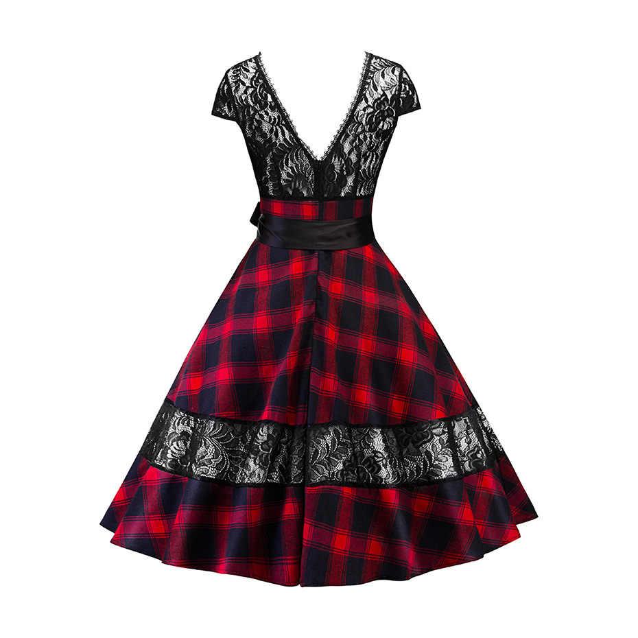 Rosetic готическое винтажное клетчатое платье с открытой спиной и кружевным бантом, модное женское летнее элегантное платье для вечеринки, новинка 2019