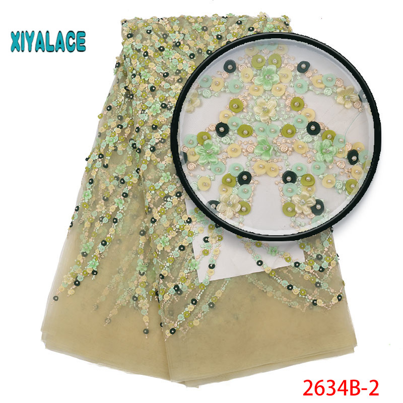 2019 New Style French Net Pearl Lace Fabric 3D Flower African Tulle Mesh Lace Fabric High Quality Nigerian Lace Fabric YA2634B-2