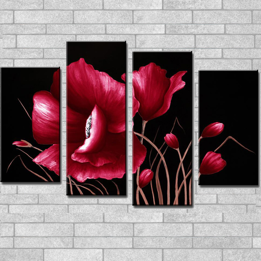 HOTSALE Gig fleur huile Art peinture peint à la main Blomming rouge fleur 4 pièces combiné toile peintures à l'huile moderne maison mur décor