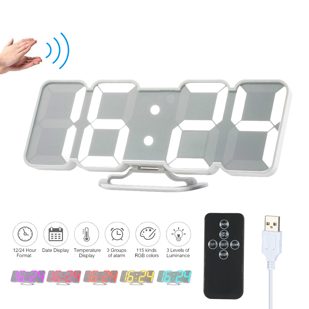 3d Wireless Remote Digital Wall Clock Usb Clock Display Led Alarm