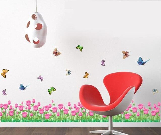 Purple Tulip Flowers Kitchen Vinyl Wall Stickers Home: Aliexpress.com : Buy Girls Pink Tulip Border Wall Stickers