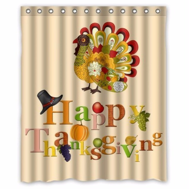 Turkey Happy Thanksgiving Day Custom Shower Curtain 100 Polyester Waterproof Bathroom Decor Decorative