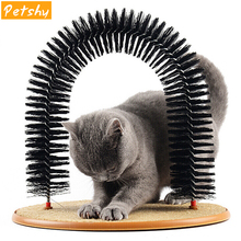 Petshy Comfortable Cat Massager Massage Brush Plastic Wooden Scratch Bristles Arch Pet Cats Self Groomer Supplies with Catnip