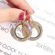S925 silver needle han edition of the new fashion circle stud earrings earrings rhinestone geometry contracted earrings han edition acts the role of candy color round metal earrings