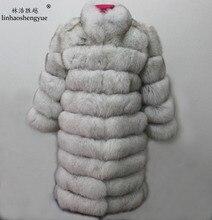 Linhaoshengyue 90cm long real fox fur coat with collar