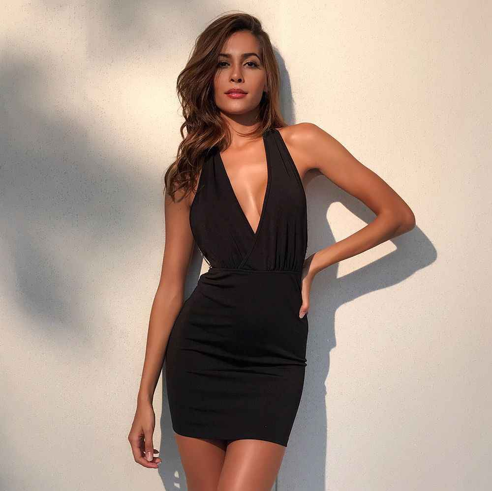 8084214701b8 ... Sexy V neck Backless Women christmas dress Hollow Out Chains bandage  dress Open Back Party summer ...