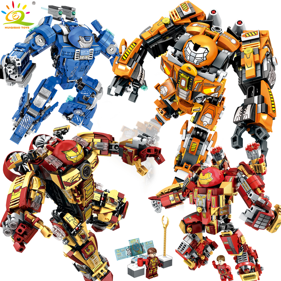 Iron Man Compatible Legoed vengadores Armadura guerrero soldado figuras bloques de construcción iluminar ladrillos juguetes para niños amigos