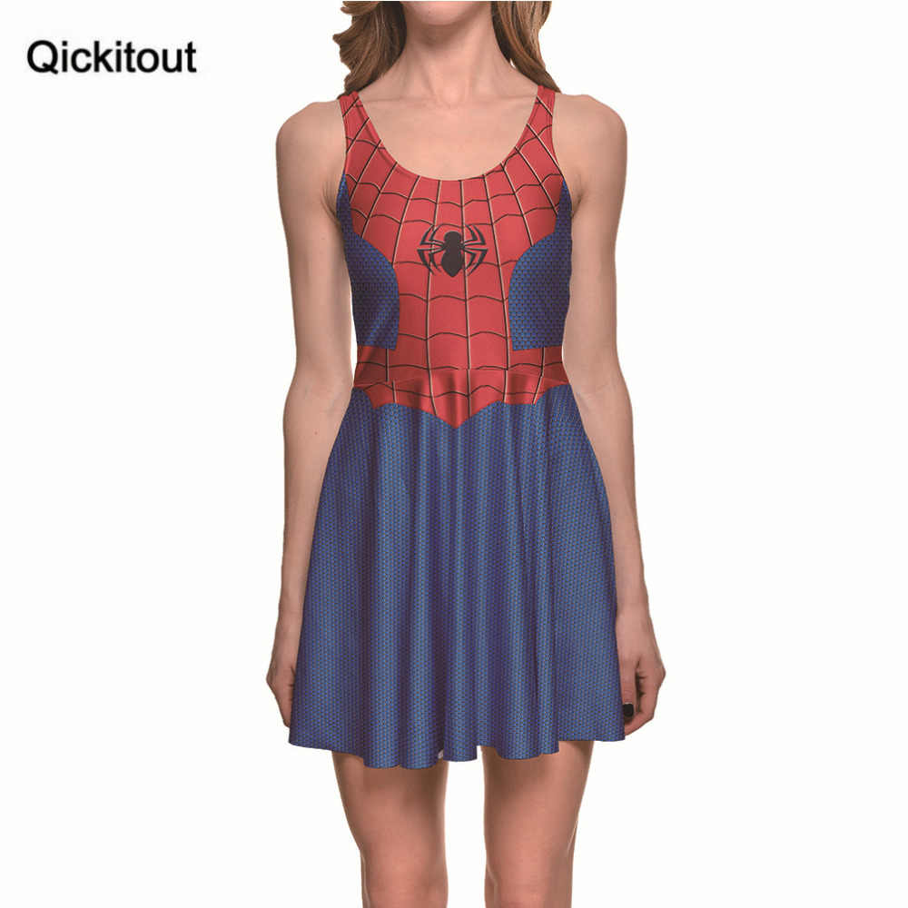12bc4d8a45 Qickitout Dress 2017 Hot New Product Women s Anime Spiderman Cartoon Grid Dresses  Digital Print Pond SKATER