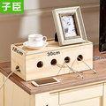 Wood storage box socket cable management wire inserted row flapper junction box
