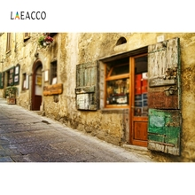 Laeacco Retro Town Street Photographic Backdrop Customized Portrait Family Photocall Photography Background For Photo Studio