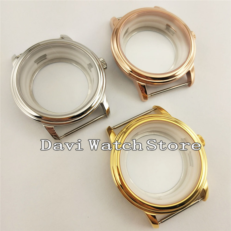 40mm Simple Sapphire Glass Steel Watch Case Fit ETA2836 Miyota 8205/8215/821A